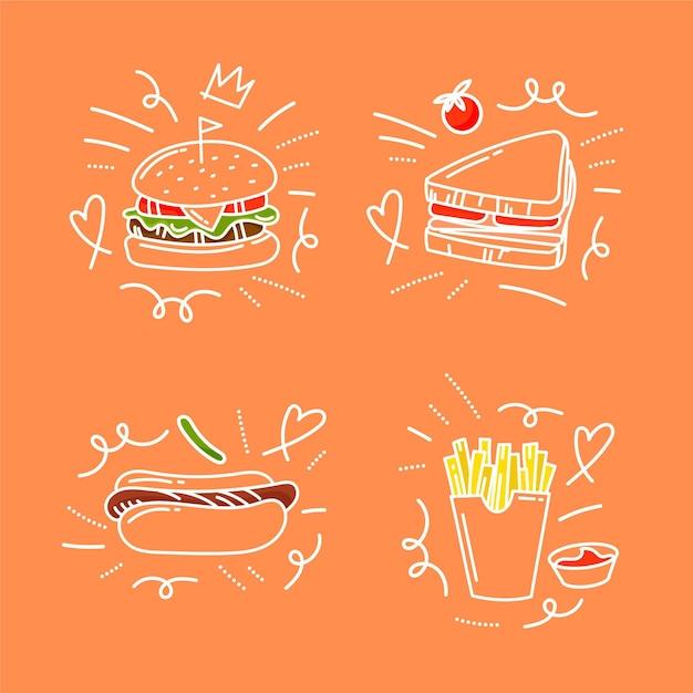 Doodles di cibo disegnati a mano Vettore Premium