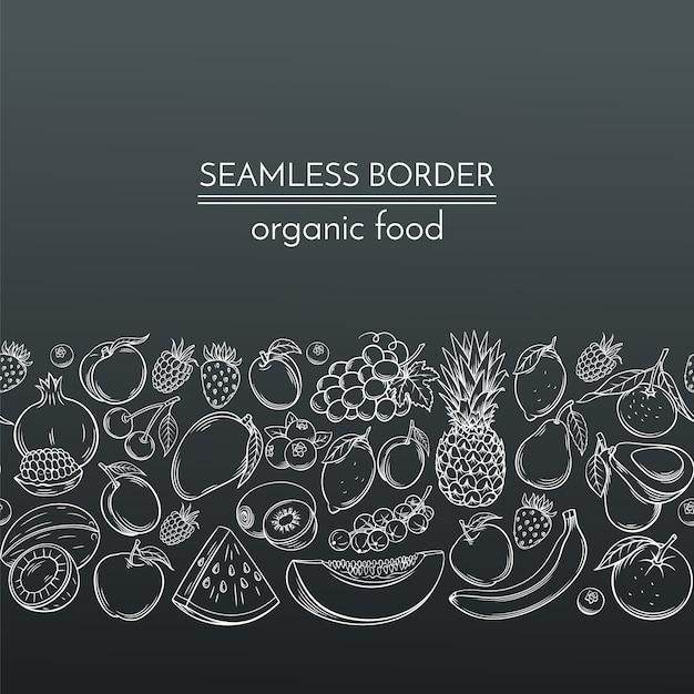 Frutti disegnati a mano per il mercato degli agricoltori Vettore Premium