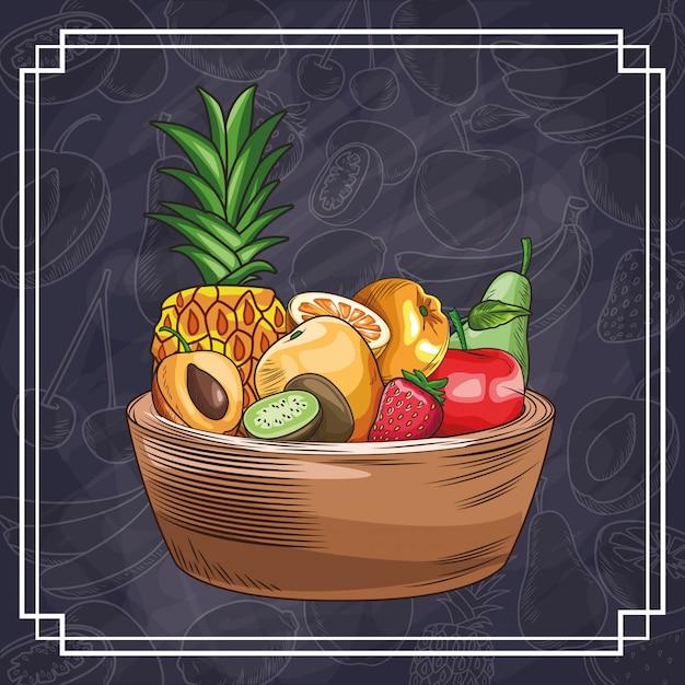 Frutti disegnati a mano Vettore Premium