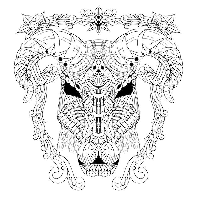 Disegnato a mano della testa di capra in stile zentangle Vettore Premium