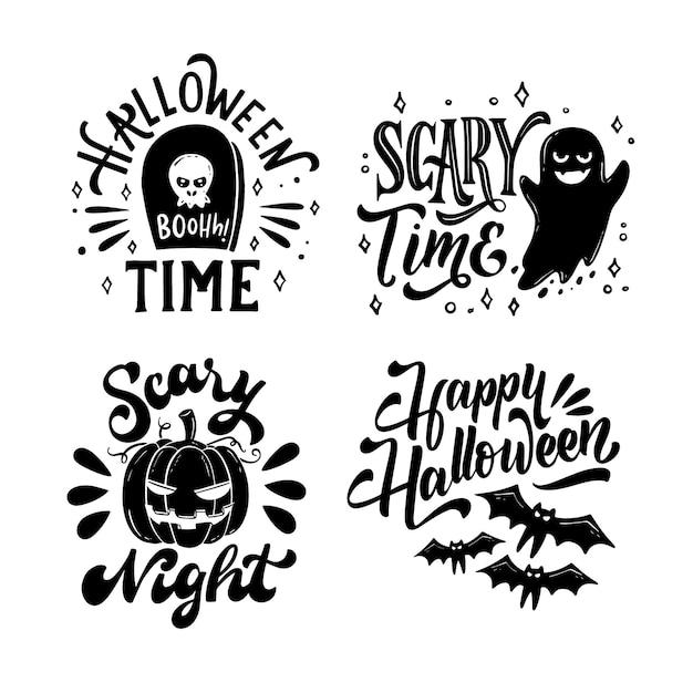 Collezione di badge halloween disegnata a mano Vettore Premium