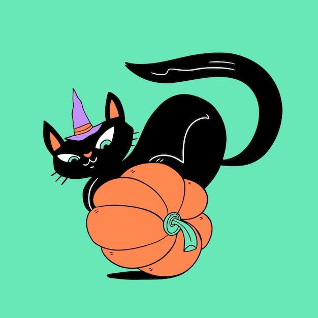 Gatto di halloween disegnato a mano Vettore Premium