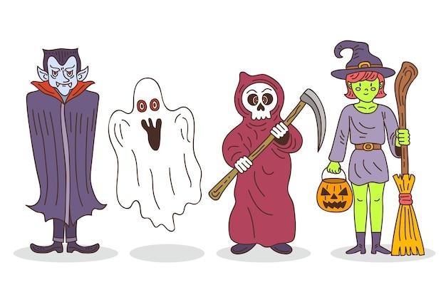 Collezione di personaggi di halloween disegnati a mano Vettore Premium