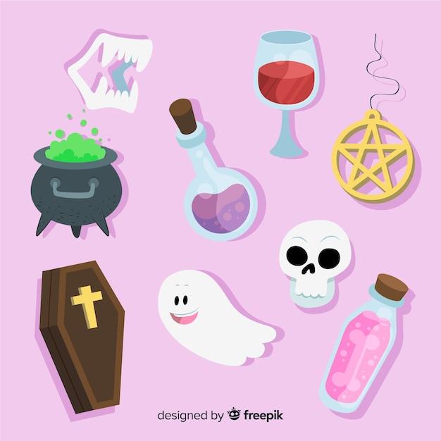 Collezione di elementi di halloween disegnati a mano Vettore Premium