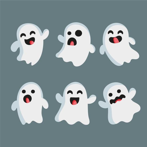 Collezione di fantasmi di halloween disegnata a mano Vettore Premium