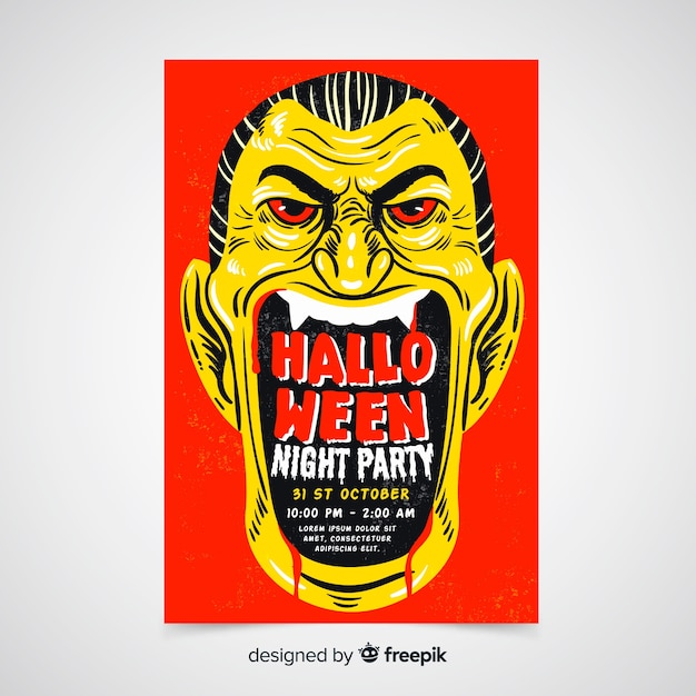 Modello di manifesto festa di halloween disegnati a mano Vettore Premium
