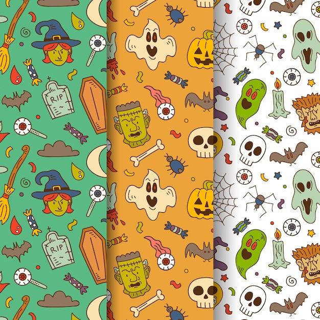 Collezione di pattern di halloween disegnati a mano Vettore Premium