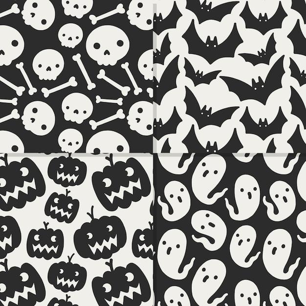 Disegni di halloween disegnati a mano Vettore Premium
