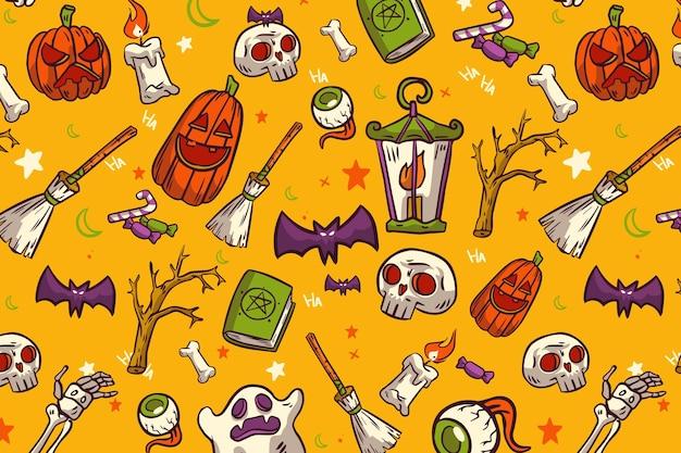 Modelli di halloween disegnati a mano Vettore Premium