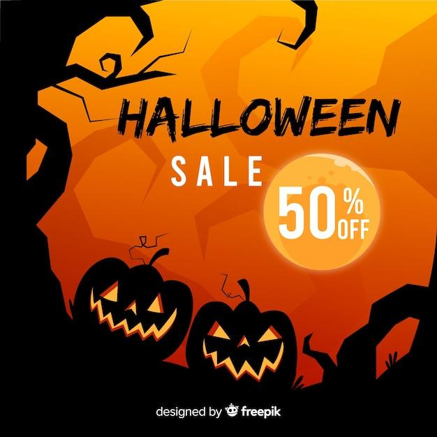 Priorità bassa di vendita di halloween disegnata a mano Vettore Premium