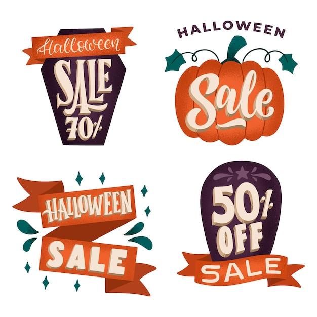 Collezione di badge vendita halloween disegnata a mano Vettore Premium