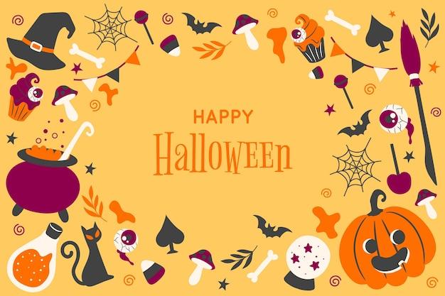 Carta da parati di halloween disegnata a mano Vettore Premium