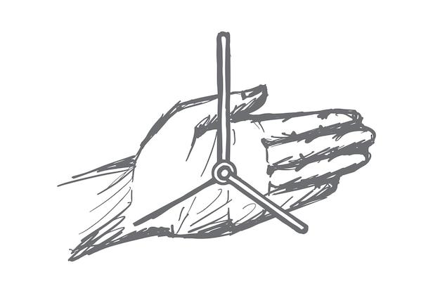 Schizzo di concetto di orologio mano disegnato a mano Vettore Premium