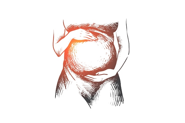 La donna incinta felice disegnata a mano tiene la sua pancia nello schizzo di concetto delle mani Vettore Premium