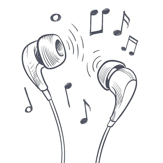 Le cuffie e le note musicali disegnate a mano scarabocchia il concetto di musica elettronica. Vettore Premium