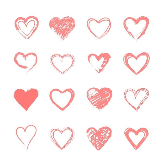 Accumulazione del cuore disegnato a mano Vettore Premium