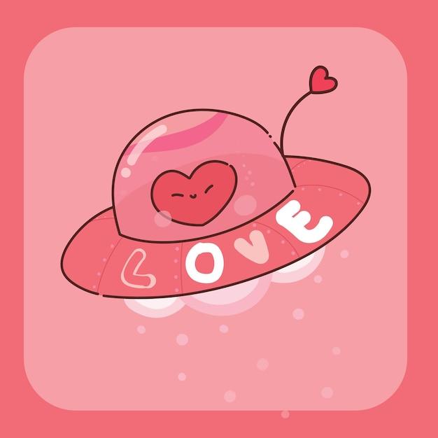 Illustrazione di carattere ufo cuore disegnato a mano Vettore Premium