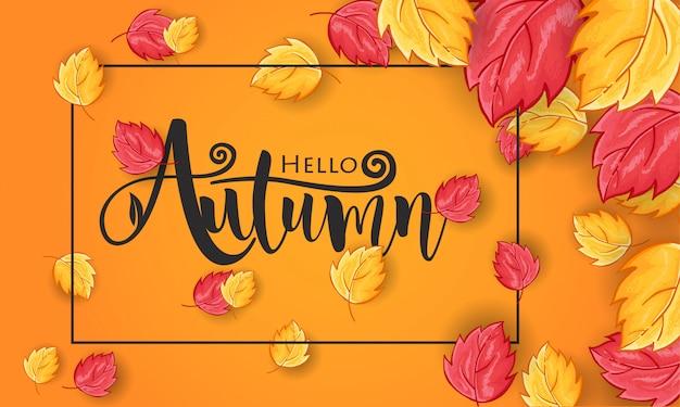 Ciao autunno saluto sfondo disegnato a mano Vettore Premium