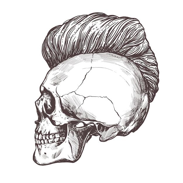 Cranio umano disegnato a mano con taglio di capelli alla moda nel profilo. Vettore Premium