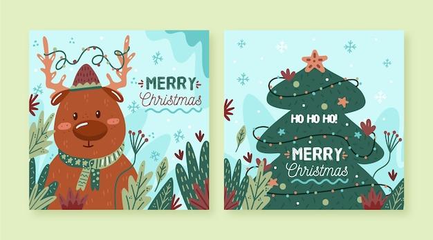 Cartoline di natale illustrate disegnate a mano Vettore Premium