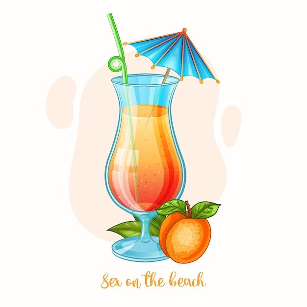 Illustrazione disegnata a mano di bere alcolici sesso sul bicchiere da cocktail spiaggia Vettore Premium