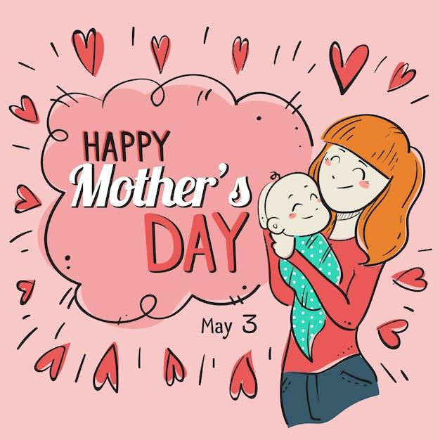 Illustrazione disegnata a mano della madre con il bambino Vettore Premium
