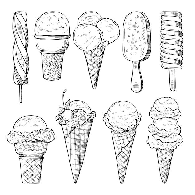 Insieme di illustrazioni disegnate a mano di gelati. schizzo vettoriale Vettore Premium
