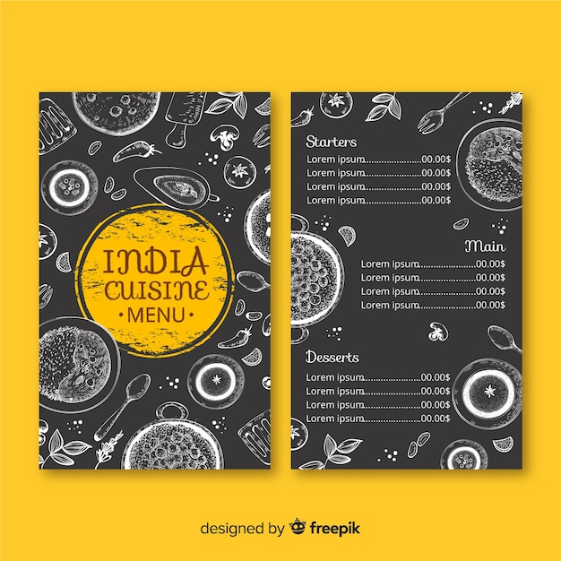Modello di menu del ristorante indiano disegnato a mano Vettore Premium