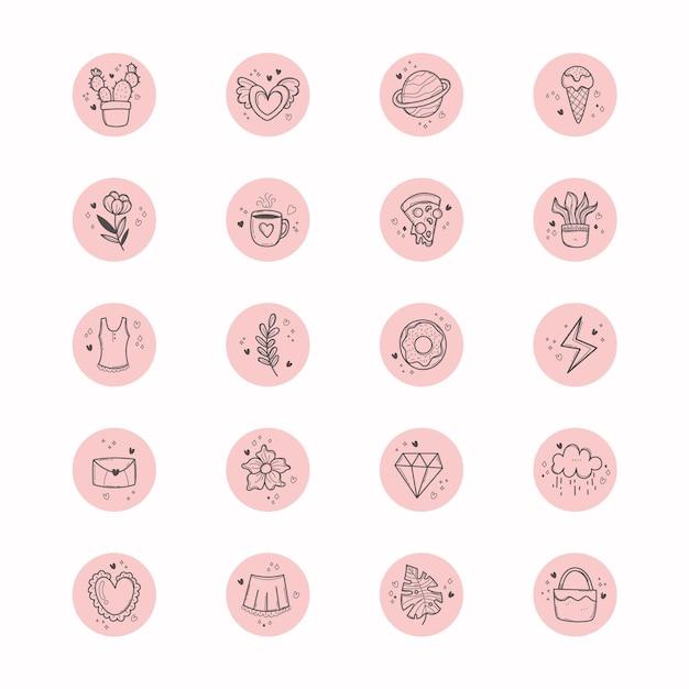 Punti salienti di instagram disegnati a mano Vettore Premium
