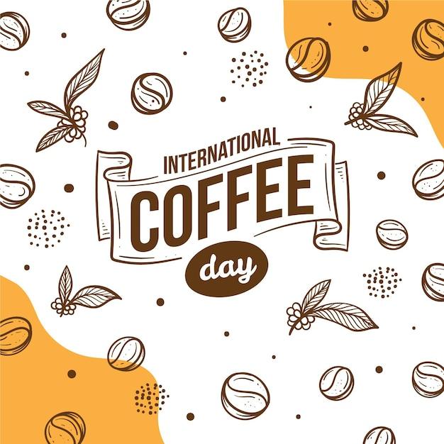 Giornata internazionale disegnata a mano dell'illustrazione del caffè Vettore Premium