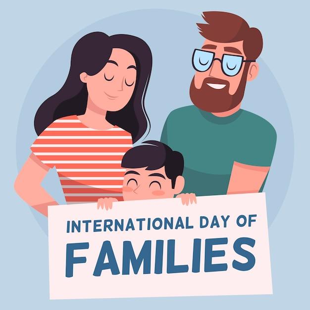 Giornata internazionale della famiglia disegnata a mano Vettore Premium