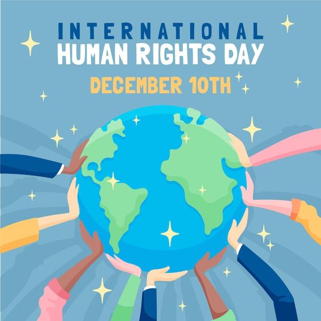 Giornata internazionale dei diritti umani disegnata a mano Vettore Premium