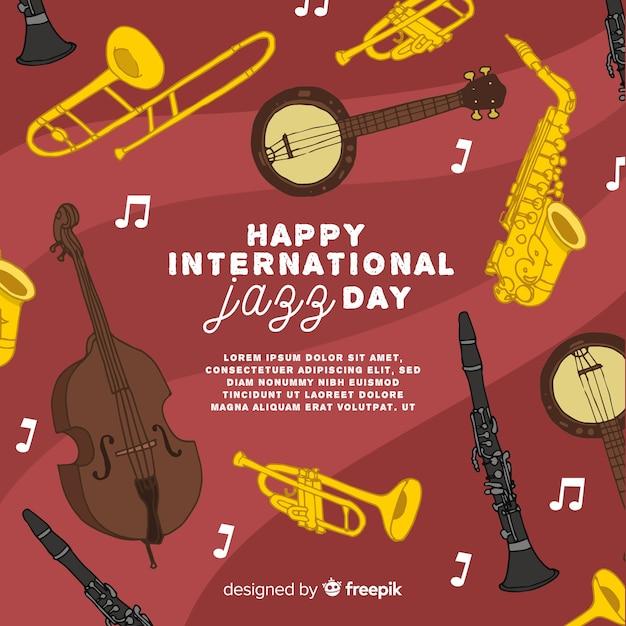Priorità bassa di giorno di jazz internazionale disegnato a mano Vettore Premium