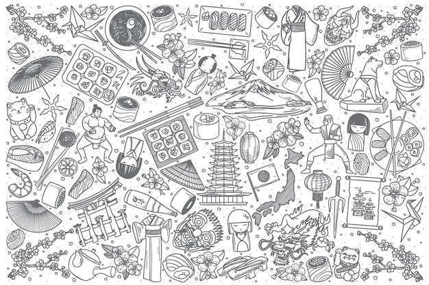 Insieme di doodle di giappone disegnato a mano Vettore Premium