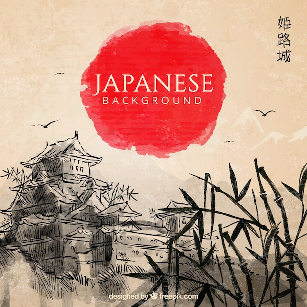 Disegnata a mano sfondo del paesaggio giapponese Vettore Premium