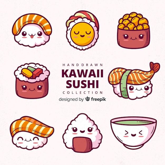 Collezione di sushi kawaii disegnata a mano Vettore Premium