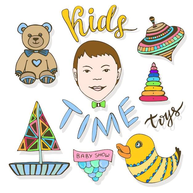 Collezione di giocattoli per bambini disegnati a mano. set di icone colorate infantili vettoriali di schizzo Vettore Premium