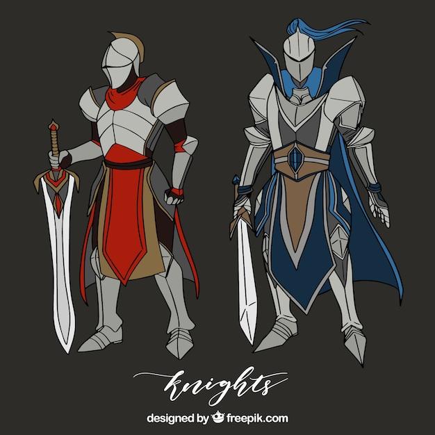 Armatura di cavalieri disegnati a mano con spade Vettore Premium