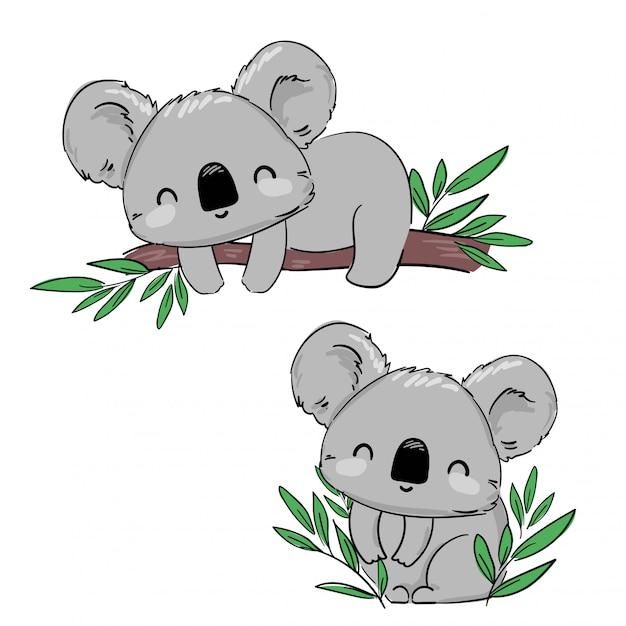 Koala disegnata a mano sul ramo di un albero. illustrazione infantile carina disegnata a mano. design di stampa. illustrazione. Vettore Premium