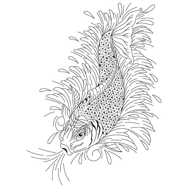 Disegnato a mano di pesce koi in stile zentangle Vettore Premium