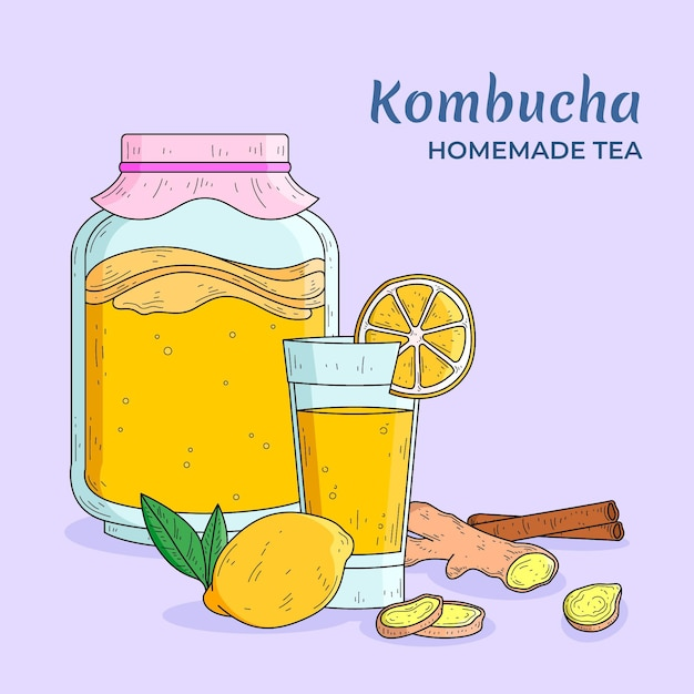 Tè kombucha disegnato a mano con limone e zenzero Vettore Premium