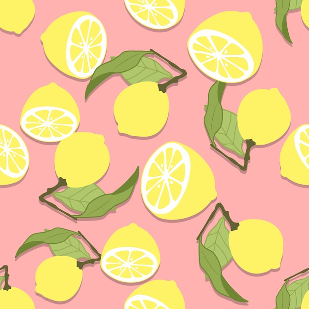 Modello senza cuciture di limone disegnato a mano Vettore Premium