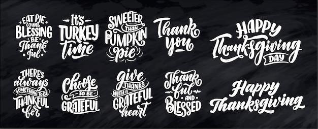 Citazioni scritte disegnate a mano per il giorno del ringraziamento. tipografica. Vettore Premium