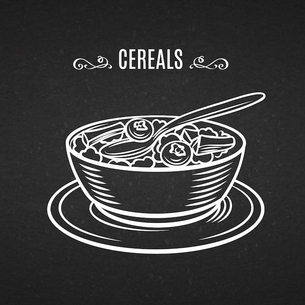 Cereali per la colazione icona linea disegnata a mano. Vettore Premium