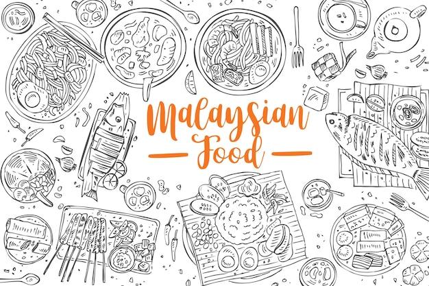 Cibo malese disegnato a mano, sfondo di cibo asiatico vista dall'alto, Vettore Premium