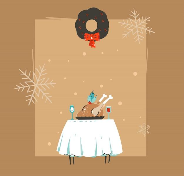 Cartolina d'auguri disegnata a mano buon natale e felice anno nuovo tempo retrò vintage coon illustrazioni con tavolo da pranzo di natale, turchia e copia spazio su sfondo marrone Vettore Premium