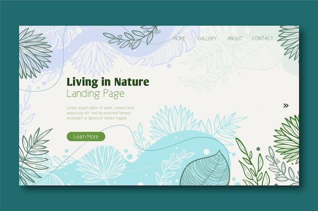 Modello di pagina di destinazione natura disegnata a mano Vettore Premium