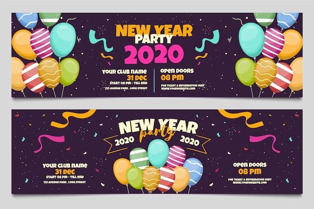 Banner festa di capodanno 2020 disegnati a mano Vettore Premium