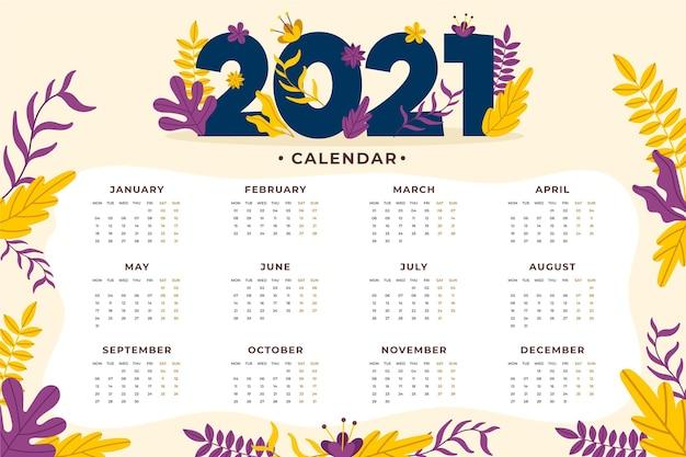 Calendario del nuovo anno 2021 disegnato a mano Vettore Premium
