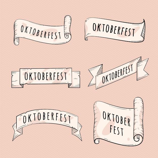 Collezione di nastri più oktoberfest disegnati a mano Vettore Premium